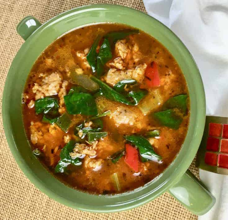 Keto Sausage Soup with Peppers and Spinach