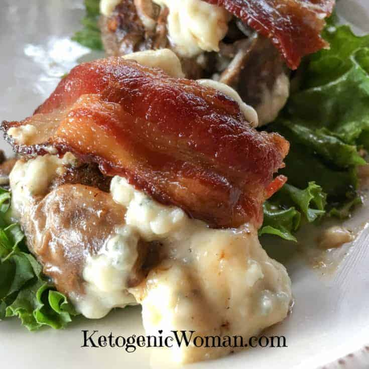 Keto Sliders with Bacon, Blue Cheese and Mushrooms