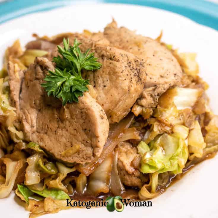 Keto One Pan Pork Tenderloin Cabbage Skillet